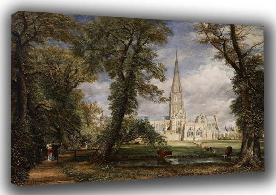 Constable, John: View of Salisbury Cathedral from the Bishop's Grounds . Fine Art English Landscape Canvas. Sizes: A3/A2/A1 (0021)